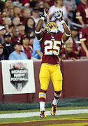 Washington Redskins running back Chris Thompson (25) catches a first quarter kick in the end zone in front of an ESPN sign for Monday night football during the NFL week 1 football game against the Philadelphia Eagles on Monday, Sept. 9, 2013 in Landover, Md. The Eagles won the game 33-27. ©Paul Anthony Spinelli