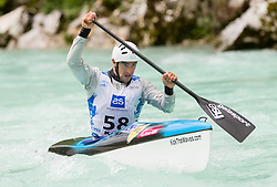 Second placed in C1 men Blaz Cof of Slovenia competes at final sprint race of European wildwater Canoeing Championships Soca 2013 on May 12, 2013 in Trnovo ob Soci, Soca river, Slovenia. (Photo By Vid Ponikvar / Sportida)