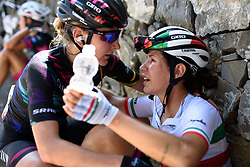 Incredible climbing from Elena Cecchini clearly hurt at the finish. As Alena Amialiusik crosses the line shes there to comfort her teammate at Giro Rosa 2016 - Stage 6. A 118.6 km road race from Andora to Alassio, Italy on July 7th 2016.