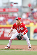 CINCINNATI, OH - APRIL 9: Joey Votto #19 of the Cincinnati Reds plays defense at first base during the game against the Pittsburgh Pirates at Great American Ball Park on April 9, 2015 in Cincinnati, Ohio. The Reds defeated the Pirates 3-2. (Photo by Joe Robbins)  Joey Votto
