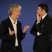 Matteo Renzi con Riccardo Luna organizzatore del primo Italian Digital Day, incontri e dibattiti dedicati all'innovazione digitale in Italia organizzato alla Reggia di Venaria Reale (TO) 21/11/2015