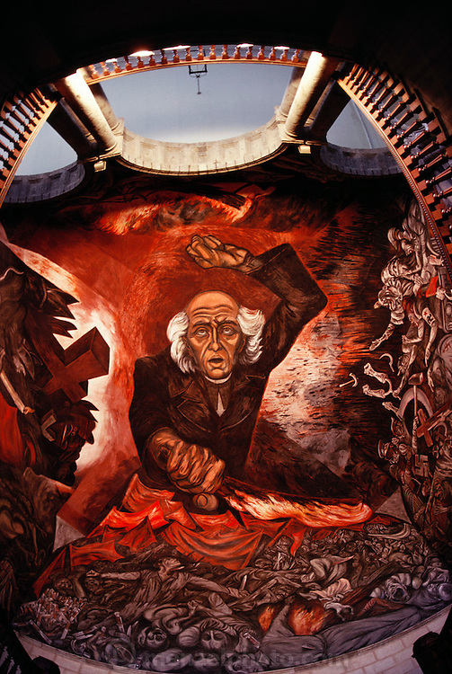 Portrait of Miguel Hidalgo by Jose Clemente Orozco in the Palacio del Gobernio stairway. Guadalajara, Jalisco, Mexico.