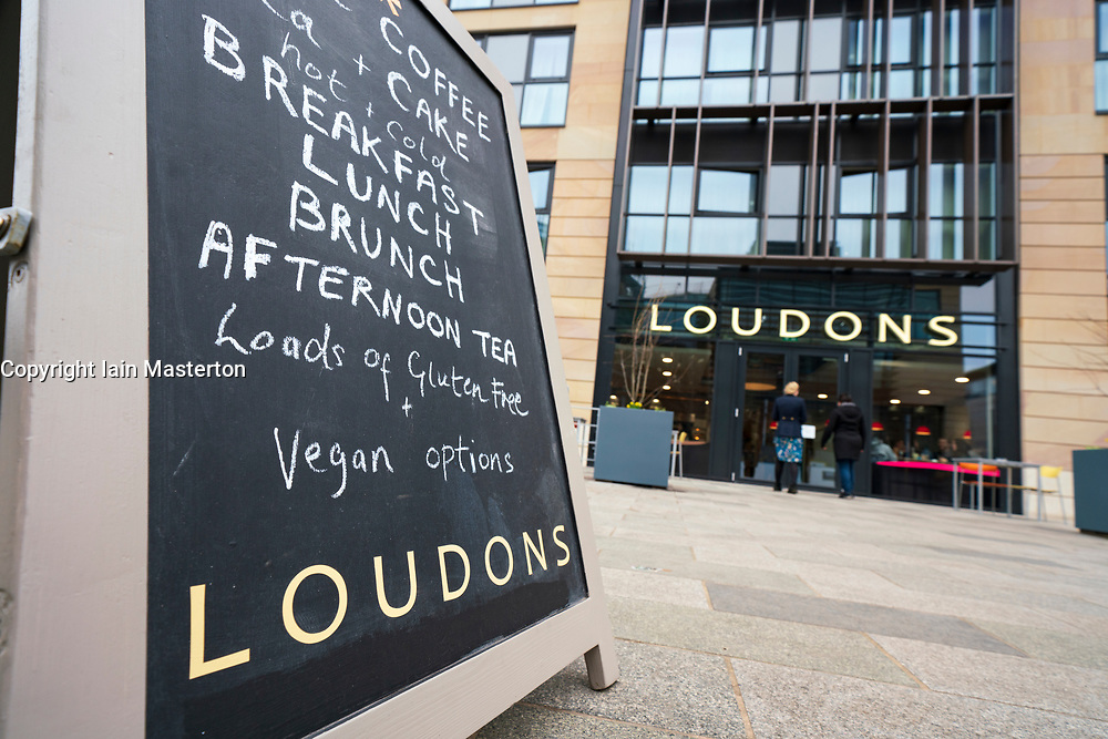 View of new branch of Loudons restaurant and cafe in New Waverley mixed residential and commercial property development in Edinburgh Old Town, Scotland, UK