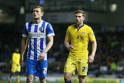 Leeds United defender, Charlie Taylor (21) and Brighton striker (on loan from Manchester United), James Wilson (21)  during the Sky Bet Championship match between Brighton and Hove Albion and Leeds United at the American Express Community Stadium, Brighton and Hove, England on 29 February 2016. Photo by Simon Davies.