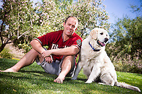 Portrait of Aaron Hill and his dog and family in Scottsdale, Arizona on May 17, 2013.  (Photo by Jonathan Willey/Arizona Diamondbacks)
