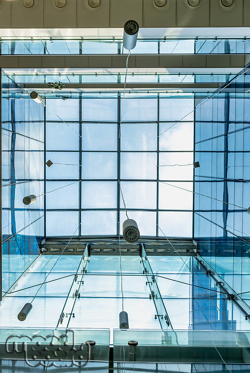 Photo of modern glass ceiling in school building