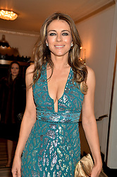 ELIZABETH HURLEY at the Tusk Friends Dinner in aid of wildlife charity Tusk held at Claridge's, Brook Street, London on 11th March 2014.