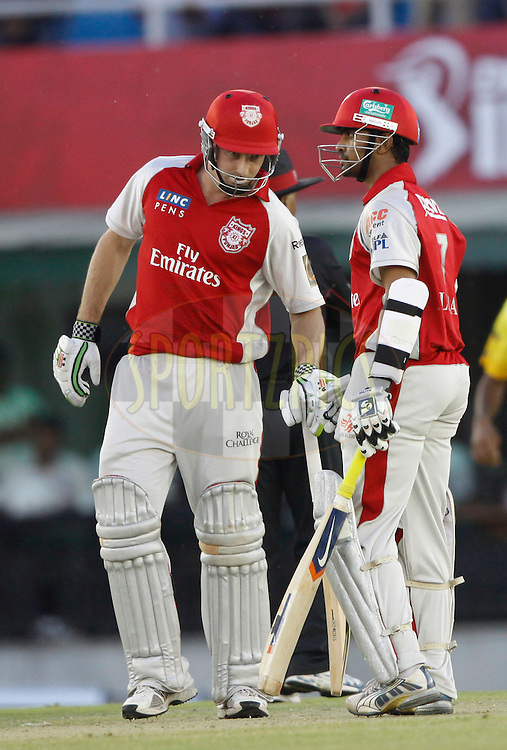 Kings XI Punjab Shaun Marsh and Paul Valthaty during match 9 of the Indian Premier League ( IPL ) Season 4 between the Kings XI Punjab and the Chennai Super Kings held at the PCA stadium in Mohali, Chandigarh, India on the 13th April 2011..Photo by Pankaj Nangia/BCCI/SPORTZPICS