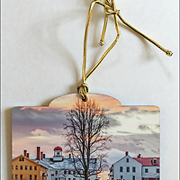 Christmas at Canterbury Shaker Village Ornament. <br /> Photographic Print on sturdy stock with gold ribbon.<br /> Single Sided<br /> Proudly Made in USA