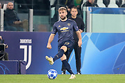 Manchester United Defender Luke Shaw during the Champions League Group H match between Juventus FC and Manchester United at the Allianz Stadium, Turin, Italy on 7 November 2018.