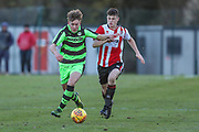 Forest Green Rovers Jay Malshanskys(7) during the The Central League match between Cheltenham Town Reserves and Forest Green Rovers Reserves at The Energy Check Training Ground, Cheltenham, United Kingdom on 28 November 2017. Photo by Shane Healey.