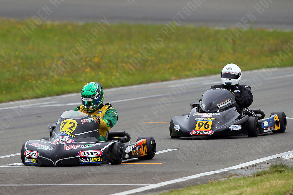 Aarron Cunningham, 72, and Teddy Bassick, 96, race in the Rotax Heavy class during the 2012 Superkart National Champs and Grand Prix at Manfeild in Feilding, New Zealand on Saturday, 7 January 2011. Credit: Hagen Hopkins.
