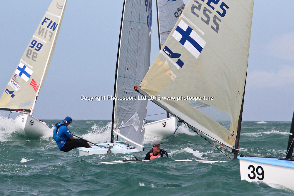 Race 8 Finn Gold Cup Takapuna - Leeward mark action