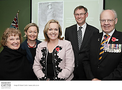 Minister of Veterans' Affairs Hon Judith Collins, RSA President Robyn Klitscher, ANZ National Deputy CEO Steven Fyfe, Vice Chief of Defence Force Jack Steer ONZM and RSA Chief Executive Stephen Clarke welcomed guests to Wellington's Defense House to launch the National Bank / RSA Cyril Bassett VC Speech Competition.  Guests included Beverley Young, daughter of Cyril Bassett, and her daughter Sarah Curry.