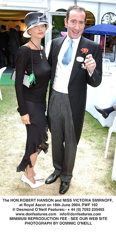 The HON.ROBERT HANSON and MISS VICTORIA SMIRNOFF, at Royal Ascot on 16th June 2004.PWF 192