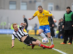 Grimsby's Craig Disley challenges Bristol Rovers' Adam Dawson  - Photo mandatory by-line: Neil Brookman/JMP - Mobile: 07966 386802 - 14/02/2015 - SPORT - Football - Cleethorpes - Blundell Park - Grimsby Town v Bristol Rovers - Vanarama Football Conference