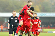 Crawley Town forward James Collins (19) celebrates his goal with Crawley Town defender Chris Arthur (3)  during the EFL Sky Bet League 2 match between Crawley Town and Cambridge United at the Checkatrade.com Stadium, Crawley, England on 12 November 2016. Photo by Andy Walter.
