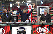 GLENDALE, AZ - JANUARY 8:  With Emmitt Smith (left) and Jimmy Johnson (right) working on the set, Eddie George raises his arms and responds to cheers from Ohio State fans during the FOX Sports television pregame show rehearsal at the Ohio State Buckeyes game against the Florida Gators at the 2007 Tostitos BCS National Championship Game at the University of Phoenix Stadium on January 8, 2007 in Glendale, Arizona. The Gators defeated the Buckeyes 41-14. ©Paul Anthony Spinelli *** Local Caption *** Emmitt Smith;Eddie George;Jimmy Johnson