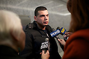 BROOKLYN, NY-- Gerard Honig, boyfriend of victim Yelena Bulchenko, speaks with the press before Maksim Gelman, 24, was sentenced in Brooklyn Supreme Court on the afternoon of Wednesday, January 18, 2012.  Gelman pled guilty to attempted murder in connection with his attack on a subway passenger on February 12, 2011.  <br /> <br /> CREDIT: Andrew Hinderaker for the Wall Street Journal