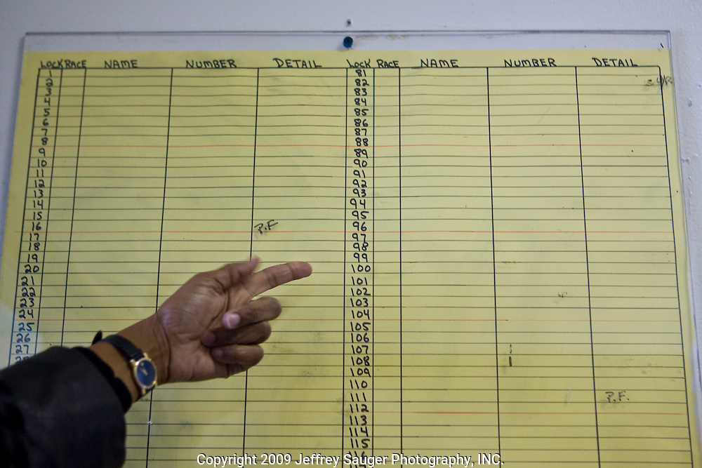 Carmen D. Palmer, Warden of Deerfield Correctional Facility, points to an empty inmate log after the last 33 of 1,200 prisoners were transported out of the closing prison in Ionia, MI, Friday, March 20, 2009. All employees have been absorbed into the four other prisons in the town.