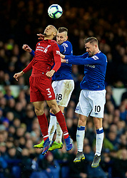 LIVERPOOL, ENGLAND - Sunday, March 3, 2019: Liverpool's Fabio Henrique Tavares 'Fabinho' (L) is challenged by Morgan Schneiderlin and Gylfi Sigurdsson during the FA Premier League match between Everton FC and Liverpool FC, the 233rd Merseyside Derby, at Goodison Park. (Pic by Laura Malkin/Propaganda)