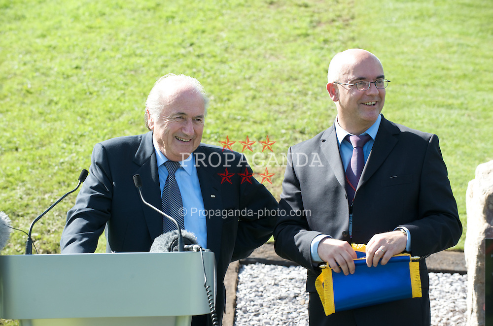 CARDIFF, WALES - Wednesday, September 9, 2009: FIFA President Joseph Sepp Blatter and Football Association of Wales' press officer Ceri Stennett at the opening of the Wales national team training pitch ahead of the FIFA World Cup Qualifying Group 3 match against Russia. (Pic by David Rawcliffe/Propaganda)