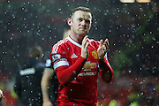 Wayne Rooney of Manchester United claps the fans after  the Barclays Premier League match between Manchester United and Stoke City at Old Trafford, Manchester, England on 2 February 2016. Photo by Phil Duncan.