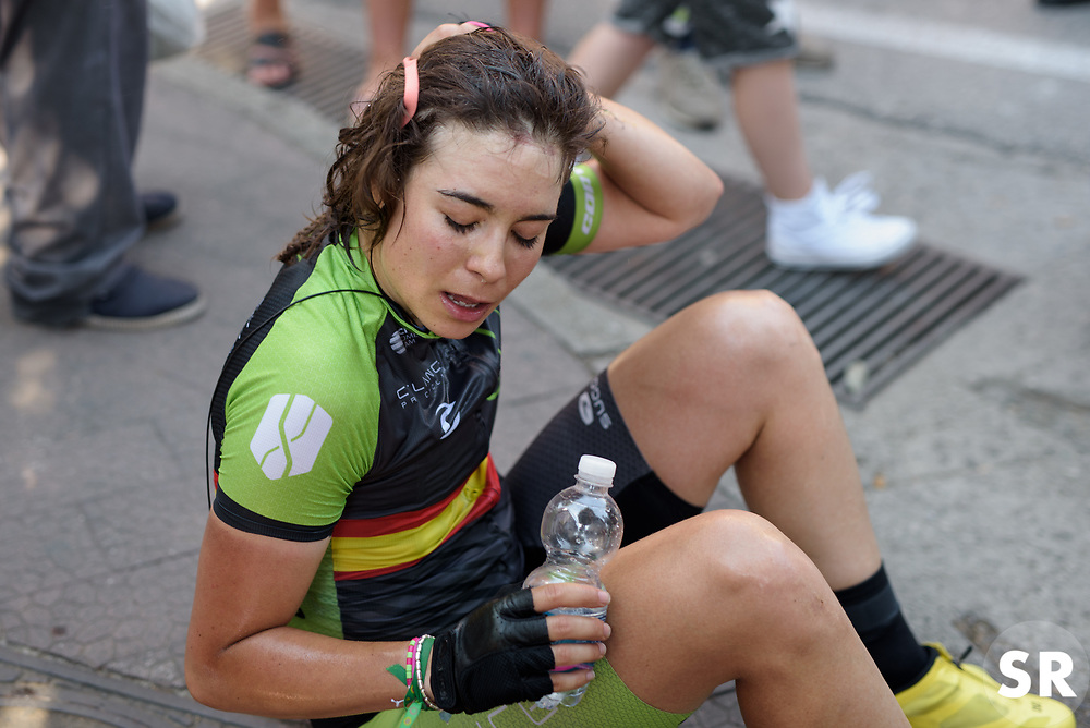 Sheyla Gutierrez catches her breath after winning Stage 7 of the Giro Rosa - a 141.9 km road race, between Isernia and Baronissi on July 6, 2017, in Isernia, Italy. (Photo by Sean Robinson/Velofocus.com)