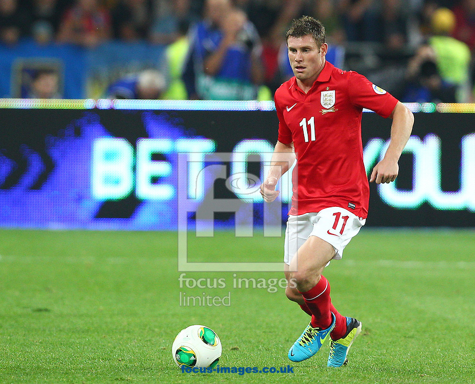 Picture by Paul Terry/Focus Images Ltd +44 7545 642257<br /> 10/09/2013<br /> James Milner of England during the 2014 FIFA World Cup Qualifying match at the Olympic Stadium, Kiev.