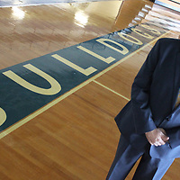 RAY VAN DUSEN/BUY AT PHOTOS.MONROECOUNTYJOURNAL.COM<br /> Aberdeen School District Superintendent Jeff Clay stands on the floor of the Roy E. Hazzle Gymnasium. Clay hopes to build on previous successes of the district going into the new school year.