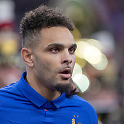 PARIS, FRANCE - March 25: Layvin Kurzawa #22 of France lines up with the French team during the National Anthems before the France V Iceland, 2020 European Championship Qualifying, Group Stage at  Stade de France on March 25th 2019 in Paris, France (Photo by Tim Clayton/Corbis via Getty Images)