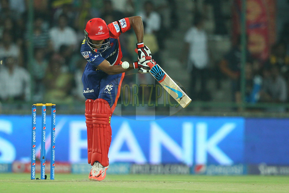 Mayank Agarwal of the Delhi Daredevils bats during match 17 of the Pepsi IPL 2015 (Indian Premier League) between The Delhi Daredevils and The Kolkata Knight Riders held at the Ferozeshah Kotla stadium in Delhi, India on the 20th April 2015.<br /> <br /> Photo by:  Deepak Malik / SPORTZPICS / IPL