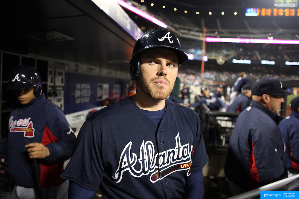 NEW YORK, NEW YORK - MAY 03:  Freddie Freeman, (left),  #5 of the Atlanta Braves in the dugout preparing to bat during the Atlanta Braves Vs New York Mets MLB regular season game at Citi Field on May 03, 2016 in New York City. (Photo by Tim Clayton/Corbis via Getty Images)