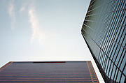 upwards view with tower 7 or the mysterious collapsed Third Tower of World Trade Center complex, Barclay Street view, New York City