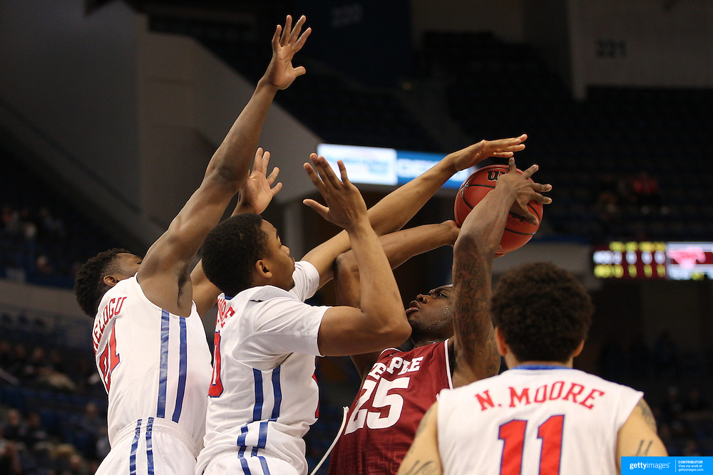 Quenton DeCosey, Temple, is clocked by the SMU defence during the Temple Vs SMU Semi Final game at the American Athletic Conference Men's College Basketball Championships 2015 at the XL Center, Hartford, Connecticut, USA. 14th March 2015. Photo Tim Clayton