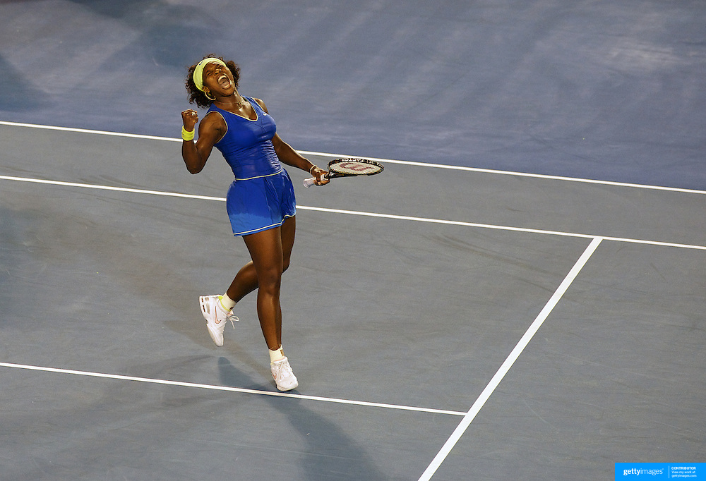 Serena Williams of USA in action during her victory over Elena Dementieva of Russia in the Women's Semi FInals at the Australian Tennis Open on January 29, 2009 in Melbourne, Australia. Photo Tim Clayton    .