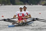 2005 FISA World Cup, Rotsee, Lucerne, SWITZERLAND, 08.07.2005 SUI M2X, Bow Oliver Gremaud and Florian Stofer.  move away from the start  on the opening day of the final round of the 2005 FISA Rowing World Cup..© Peter Spurrier.  email images@intersport-images..[Mandatory Credit Peter Spurrier/ Intersport Images] Rowing Course, Lake Rottsee, Lucerne, SWITZERLAND.