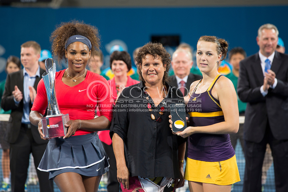 Serena WILLIAMS (USA) Evonne Goolagong and Anastasia PAVLYUCHENKOVA (RUS) with the womens singles trophies. Brisbane International Tennis Championship. Queensland Tennis Center, Tennyson, Brisbane, Queensland, Australia. 05/01/2013. Photo By Lucas Wroe