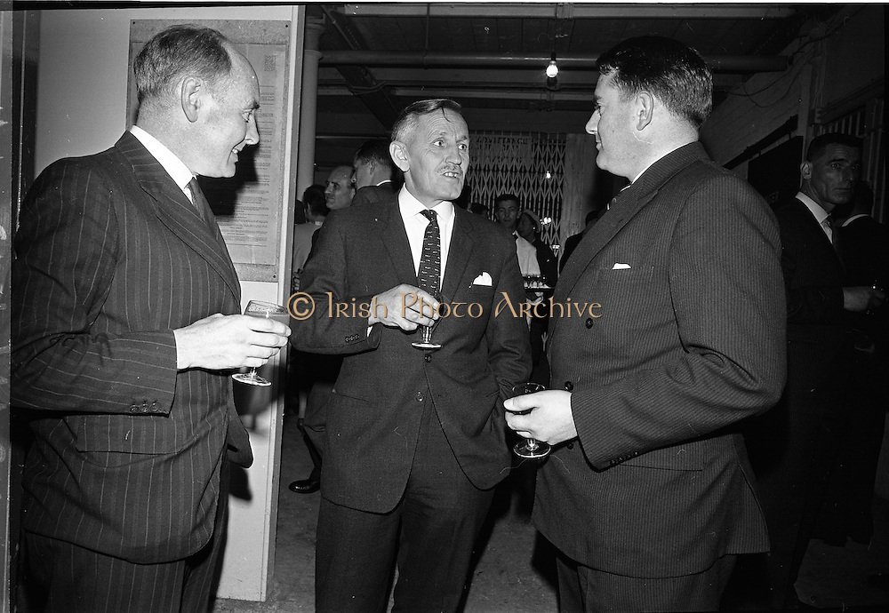 26/09/1962<br /> 09/26/1962<br /> 26 September 1962<br /> Opening of Earl Bottlers Ltd. at South Earl Street, Dublin. Minister for Justice Charles Haughey opened the new premises that produced Sandyman port.