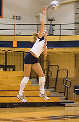 Virginia Cavaliers OH Sarah Kirkwood (10)..The Virginia Cavaliers Volleyball team defeated the Florida State Seminoles 3 games to 1 at Memorial Gymnasium in Charlottesville, VA on September 20, 2007.