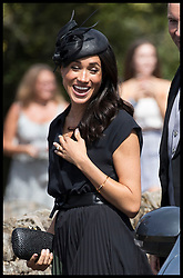 August 4, 2018 - Frensham, United Kingdom - Image licensed to i-Images Picture Agency. 04/08/2018. Frensham , United Kingdom. The Duchess of Sussex arriving for the wedding of Charlie Van Straubenzee and Daisy Jenks at Frensham, Surrey, United Kingdom. (Credit Image: © Stephen Lock/i-Images via ZUMA Press)