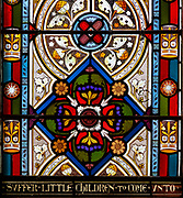 Victorian 19th century stained glass window, Shimpling church, Suffolk, England, UK