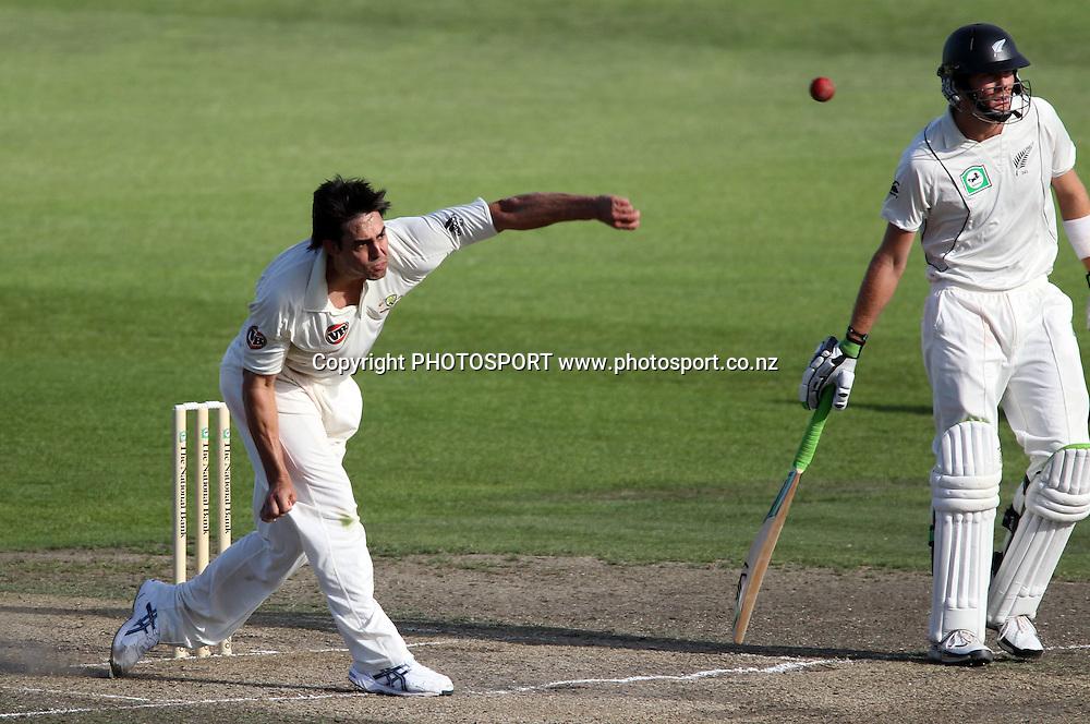 Mitchell Johnson bowling.<br />Test Match Cricket. 2nd test. Day 4.<br />New Zealand Black Caps versus Australia. Seddon Park, Hamilton, New Zealand. Tuesday 30 March 2010. <br />Photo: Andrew Cornaga/PHOTOSPORT