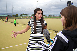CARDIFF, WALES - Tuesday, August 21, 2014: Wales international footballer Gwennan Harries talks to the media about the first Live Your Goals festival in Cardiff. (Pic by David Rawcliffe/Propaganda)