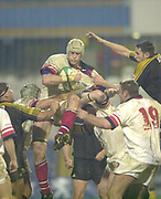 London. Great Britain,  Paddy JOHNS, collects the line out ball, during the Heineken Cup. London Wasps v Ulster Match, played at Loftus Road, West London. 06/01/2002.  [Mandatory Credit;  Peter Spurrier/Intersport Images]..