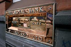 IRELAND DUBLIN 6FEB06 - Polished Royal Bank of Ireland sign and night drop box in Dublin city centre.. . jre/Photo by Jiri Rezac. . © Jiri Rezac 2006. . Contact: +44 (0) 7050 110 417. Mobile:  +44 (0) 7801 337 683. Office:  +44 (0) 20 8968 9635. . Email:   jiri@jirirezac.com. Web:    www.jirirezac.com. . © All images Jiri Rezac 2006 - All rights reserved.