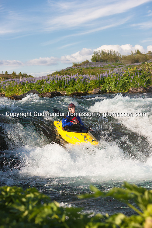 The 2009 annual river / kayak race down Tungufljót. Iceland.