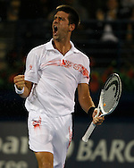 Barclays Dubai Tennis Championships, ATP Tennis Turnier, United Arab Emirates,V.A.E., Novak Djokovic (SRB) schreit und jubelt nach seinem Sieg,Emotion..Photo: Juergen Hasenkopf..