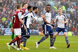 West Brom's Saido Berahino argues with Burnley players after the equalising goal for 2-2 - Photo mandatory by-line: Matt McNulty/JMP - Mobile: 07966 386802 - 08/02/2015 - SPORT - Football - Burnley - Turf Moor - Burnley v West Brom - Barclays Premier League