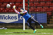 Forest Green Rovers goalkeeper Cameron Belford(30) warming up during the EFL Sky Bet League 2 match between Crewe Alexandra and Forest Green Rovers at Alexandra Stadium, Crewe, England on 20 March 2018. Picture by Shane Healey.